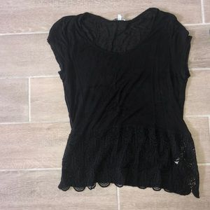 Charlotte Russe black lace shirt
